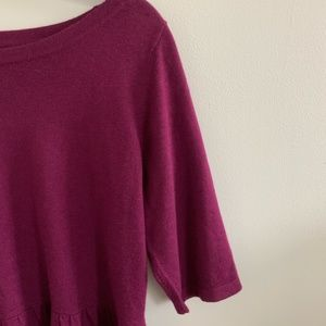 Loft Peplum top 3/4 Sleeves Plum blouse shirt S